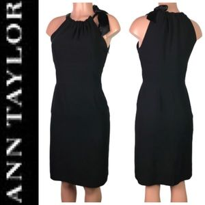 Ann Taylor Black Sheath Dress with Bow Slimming 2